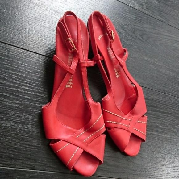 698828ad67dd2 Vintage Italian Leather Slingback Red Sandals